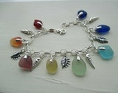 Sea Glass Sterling Silver Charm Bracelet