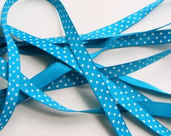 """3/8"""" Dotted Grosgrain Ribbon - Turquoise with White Dots - 5 Yards"""