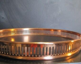Vintage Coppercraft Guild Copper Faux Bois Faux Leather Serving Tray