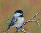 AUTUMN CHICKADEES - Matched  Framed Pair of Original Oil Paintings