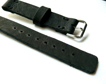 Black leather watch band, Handmade leather watch strap, thick leather black watch strap 18mm watch band, mens anniversary