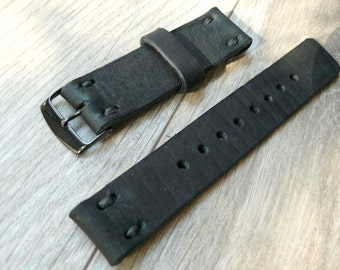 Fossil Q Founder Black leather watch band, Handmade leather watch strap, black watch strap 22mm band fits Samsung Gear S3 Frontier Band