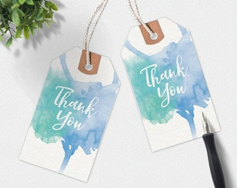 Thank you printable tags, handwritten tags, wedding stationery, favour tags, printable gift tags, thankyou tags, aqua gift tags