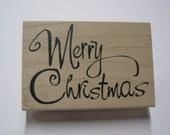 Wood Mounted Rubber Stamp - Merry Christmas text - Inkadinkado