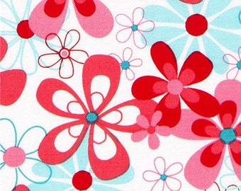 Michael Miller Nearby Floral Red and Aqua Fabric Out of Print/Impossible to Find!