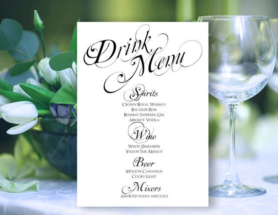Printable Drink Menu Card DIY Wedding Reception by EventPrintables