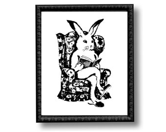 White Rabbit Chair Black and White Vintage Style Art Print Nursery Decor Bunny Hare