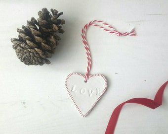 Handmade Heart 'Love' clay Christmas Tree Decoration/Gift Tag. Red handstamped