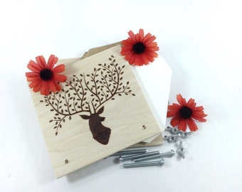 Flower Press - Wood Pyrography - Woodland Deer Plant Press