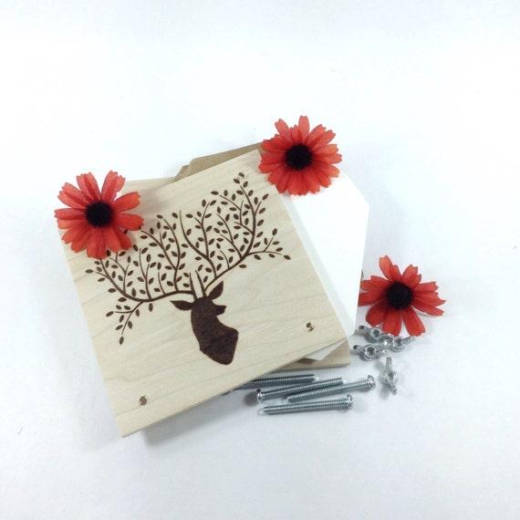 Flower Press - Wood Pyrography - Woodland Deer Plant Press