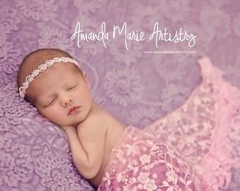 Newborn Headband, Pink White, Pearls Chiffon, Halo Headband, Small Dainty, Ready To Ship, Coming Home, Photo Prop