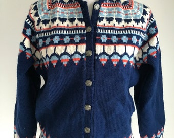 Vintage Nordic Cardigan Sweater, Handmade in Norway by Viking Knit, Size S/M