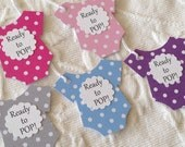 Set of 12 Choice Of Five Colors Polka Dot Bodysuit Ready To Pop -  Baby Shower Favor Gift Tags