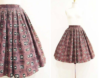 Vintage 1950s Skirt | Copper Brown and Black Floral 1950s Full Skirt | size xs - small