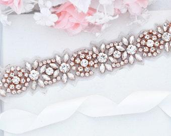 ROSE GOLD SALE Wedding Belt, Bridal Belt, Sash Belt, Crystal Rhinestones sash belt