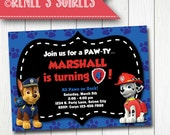 PAW PATROL Party Invitation - Printable Birthday Invite - for Boys or Girls - Personalized diy