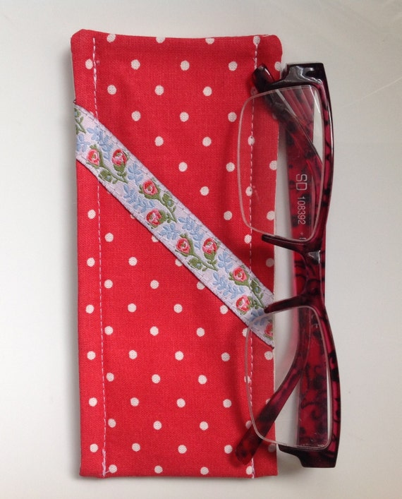 cath kidston red mini dot fabric glasses case with floral. Black Bedroom Furniture Sets. Home Design Ideas