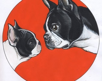 Original illustration / French Bulldog Puppy with Boston Terrier / Framed
