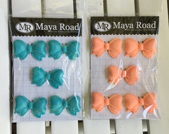 Maya Road Pretty Resin Bows, 5 pieces per pkg, ~1.5X1.1 inches in size, for scrapbooking, card making, art journaling, mixed media