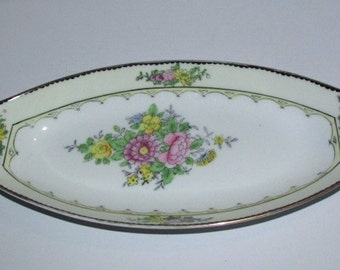 Vintage Noritake Relish Dish - Hand Painted Flowers - Floral Celery Tray - Oval Serving Dish - Made in Japan
