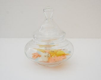 Vintage Glass Jar, Small Apothecary Jar with nipple lid, Jar for storing trinkets or candy
