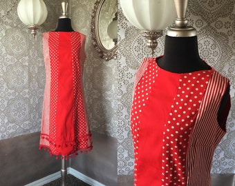 Vintage 1960's 70's Red and White Polka Dot and Stripes Dress Medium