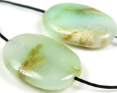 RESERVED for E - Australian Chrysoprase Oval Pendant Bead - 2 Pieces - 25mm x 18mm - B4591