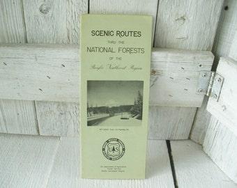 Vintage map National Forest Scenic Routes Pacific Northwest Oregon Washington folded 1960