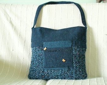 Blue and navy tote bag with many pockets