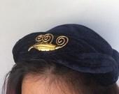 Vintage 1960's Blue Velvet Woman Cap