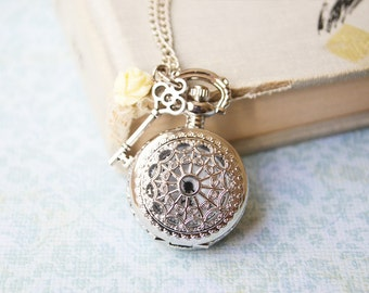 Silver Key and Ivory Rose Filigree Pocket Watch Necklace