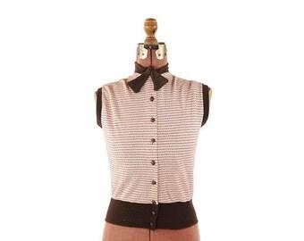 ON SALE Vintage 1950's Brown + Pink Knit Stripe Bow Tie Sleeveless High Waist Sportswear Blouse Top Shirt S M