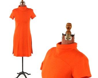 Vintage 1970's Youth Guild Bright Orange Flat Knit Mini Wool Blend Shift Scooter Mod Sweater Dress S