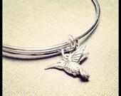ON SALE Silver Bangle with Hummingbird Charm