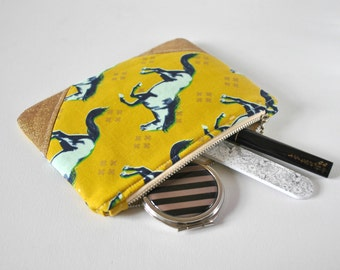 Woman's horse stallion navy aqua blue gold glitter padded beauty pouch protective olive green linen make up bag cosmetics pouch.