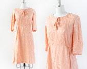 1950s Silk Dress / Peach Silk Day Dress / 1950s Dress / 1950s Peach Dress / Large