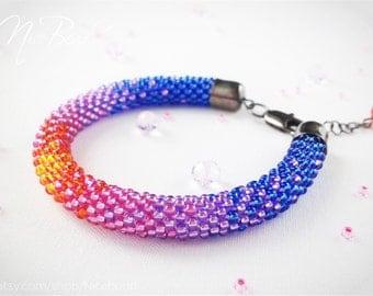 Ombre bracelet, women bracelet, summer bracelet, beaded bracelet, bead rope bracelet, rope bracelet, beaded rope bracelet, blue and pink