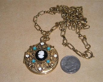 Vintage Rhinestone Cameo 2 Picture Locket Necklace With Faux Turquoise Accents 1960's  Jewelry 182