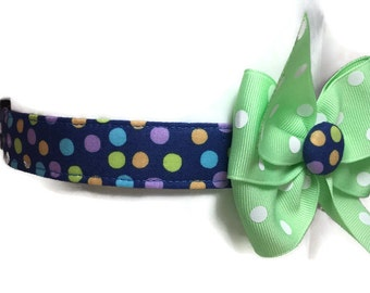 Multicolored Polka Dots Dog Collar size Large