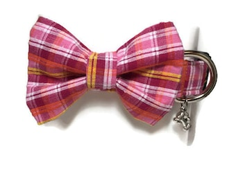 Bright Tropical Madras Plaid Bow Tie Dog Collar size Extra Small