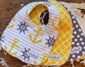 CHOOSE Baby Burp Cloths OR Baby Bibs - Set of 3 - Grey & Yellow Anchors, Quatrefoil, Polka Dot - Gender Neutral