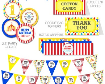Carnival Circus Birthday Party Pack, Vintage Carnival Party Decor, Circus Cupcake Toppers, Favors, Wrappers, Party Sign, Banner-PRINTABLE