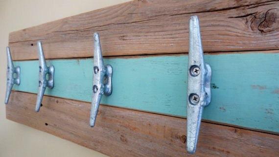 Coastal Towel Racks For Bathroom: Nautical Towel Rack Hooks In Minty Green Natural Wood Upcycled