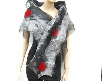 Nuno felted scarf, felt shawl, silk and wool scarf, long shawl, black, grey