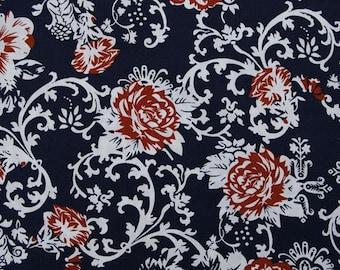 C2032A - 1 meter  Cotton Fabric - Flowers on Deep blue (145cm width)