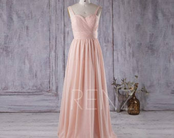 2016 Light Wheat Bridesmaid Dress, Sweetheart Chiffon Wedding Dress, Spaghetti Straps Prom Dress, Evening Gown Floor Length (X022)