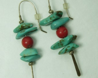 Vintage Turquoise Red Coral Sterling Silver Pierced Earrings 2.375 Inches Southwestern Jewelry