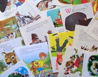 Vintage Children's Book Paper From Little Golden Books - 20 Illustrated Colorful Pages
