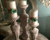 3 French Nordic candle holders distressed in white and grey Anne Sloan