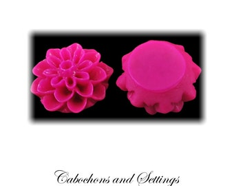 20 Resin Cabochon Flowers Dahlias / Mums 15mm  Five Colours to Choose From - AUSTRALIA
